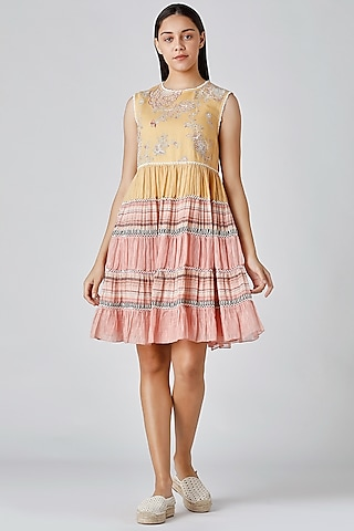 Yellow & Pink Embroidered Dress by Varq By Varun Nidhika
