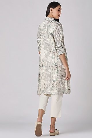 Ivory Printed Tunic Dress by Varq By Varun Nidhika