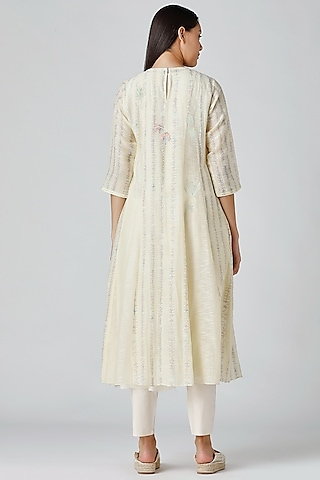 Yellow Embroidered Tunic by Varq By Varun Nidhika