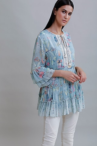 Powder Blue Printed Tiered Top by Varq By Varun Nidhika