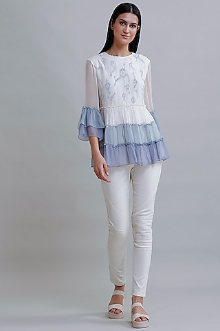 White & Blue Embroidered Top by Varq By Varun Nidhika
