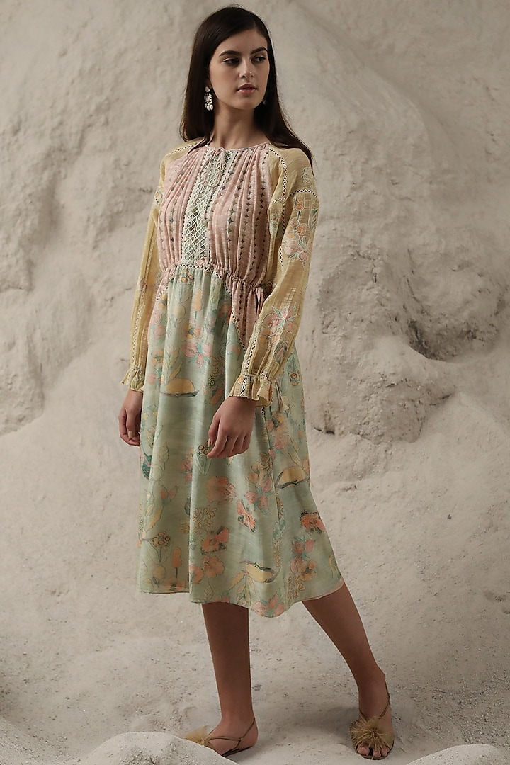 Mint Green Appliques Embroidered Dress by Varq By Varun Nidhika