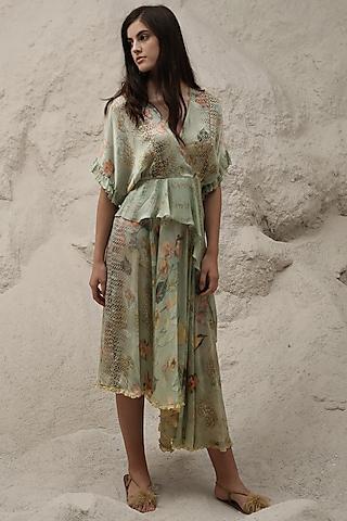 Mint Green Ruffled Printed Dress by Varq By Varun Nidhika