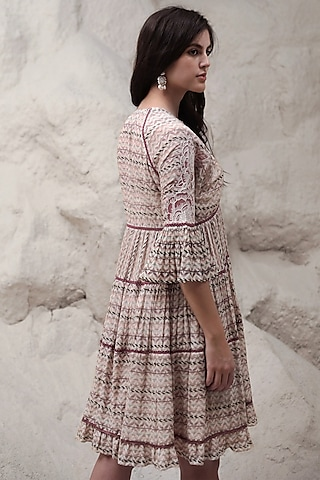 Ivory Embroidered Dress With Stripes by Varq By Varun Nidhika