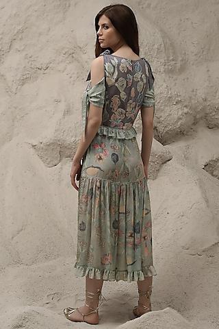 Opal Blue Digital Printed Dress by Varq By Varun Nidhika