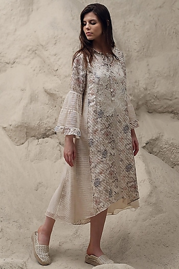 Ivory Printed & Embroidered Dress With Inner by Varq By Varun Nidhika