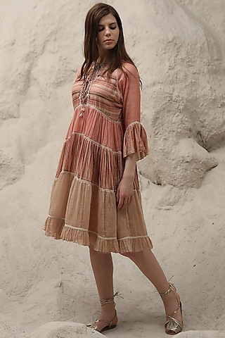 Peach Embroidered Striped Dress With Inner by Varq By Varun Nidhika