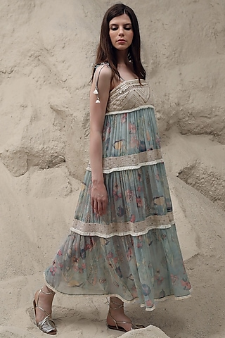 Opal Blue Floral Printed Dress With Inner by Varq By Varun Nidhika