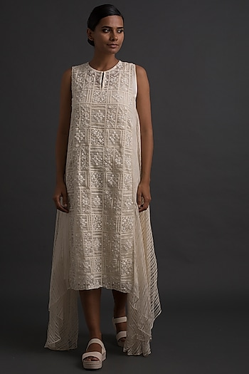 Ivory Cross Stitch Embroidered Tunic  by Varq By Varun Nidhika