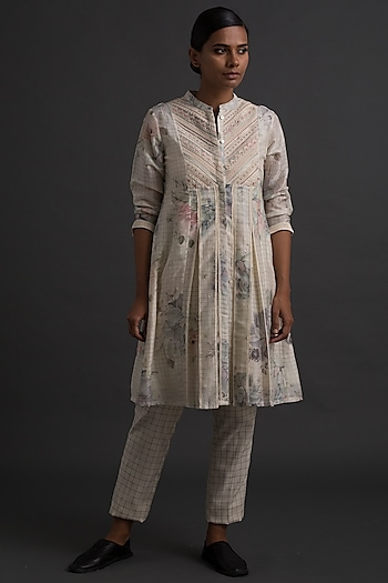 Ivory Printed & Embroidered Shirt Dress by Varq By Varun Nidhika