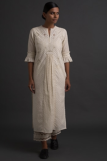 Ivory Embroidered & Gathered Tunic by Varq By Varun Nidhika