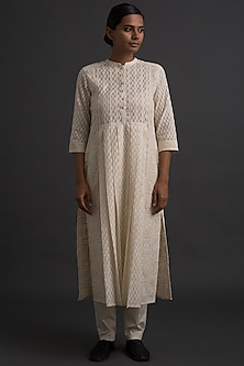 Ivory Embroidered Tunic With Cutwork by Varq By Varun Nidhika