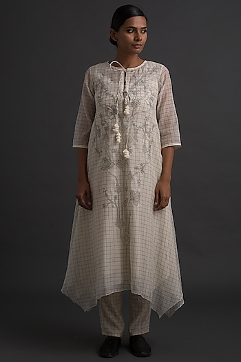 Ivory Appliques Embroidered Tunic by Varq By Varun Nidhika