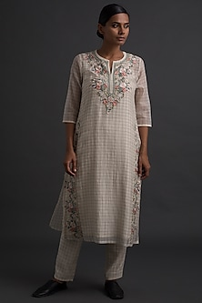Ivory Art Deco Embroidered Tunic by Varq By Varun Nidhika