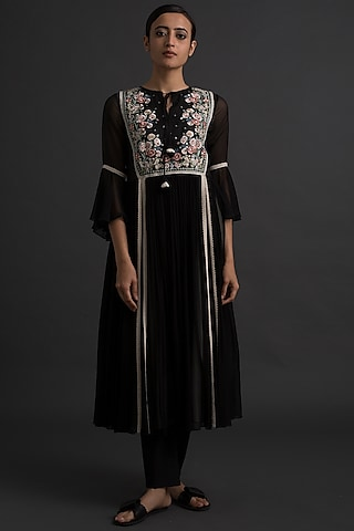 Black Art Deco Embroidered Tunic by Varq By Varun Nidhika