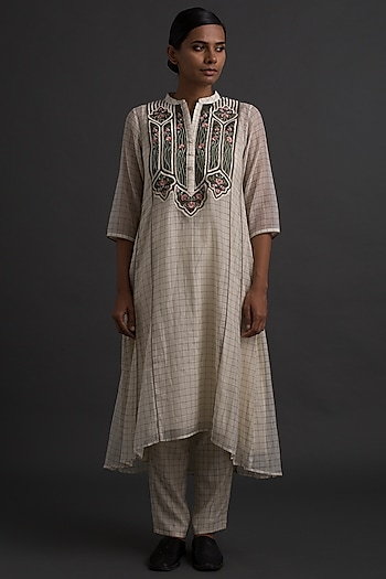 Ivory Floral Embroidered A-Line Tunic  by Varq By Varun Nidhika