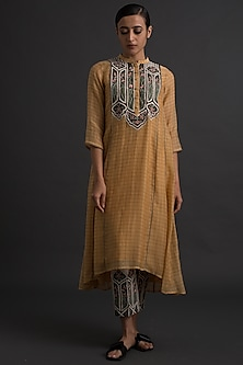 Sunshine Yellow Floral Embroidered Tunic by Varq By Varun Nidhika