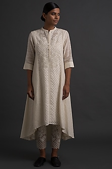 Ivory Asymmetric Floral Embroidered Tunic by Varq By Varun Nidhika