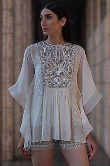 Ivory Sequins Embroidered Hot Shorts by Varq By Varun Nidhika