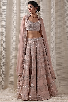Peach Sequins Embroidered Lehenga Set by Varq By Varun Nidhika