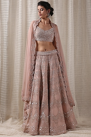 Peach Sequins Embroidered Lehenga Set by Varun Nidhika