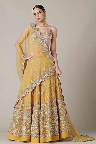 Mango Yellow Sequins Embroidered Lehenga Set by Varun Nidhika