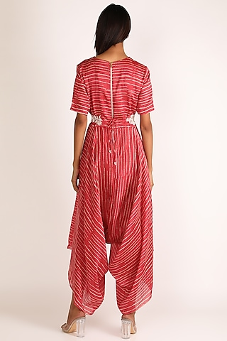 Red Embroidered Jumpsuit by Vara By Vibha & Priti
