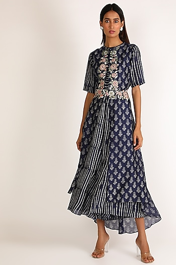 Midnight Blue Embroidered Jumpsuit by Vara By Vibha & Priti