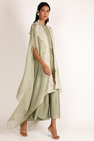 Pastel Green Embroidered Jumpsuit by Vara By Vibha & Priti