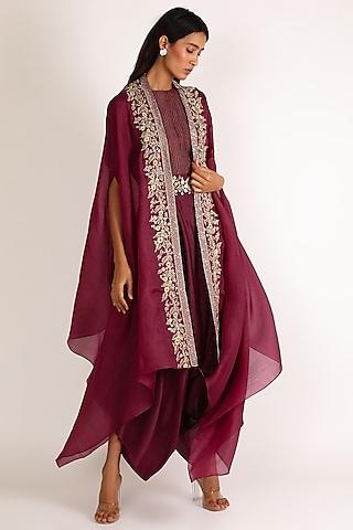 Wine Embroidered Jumpsuit by Vara By Vibha & Priti