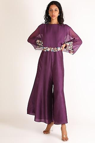 Purple Embroidered Jumpsuit by Vara By Vibha & Priti