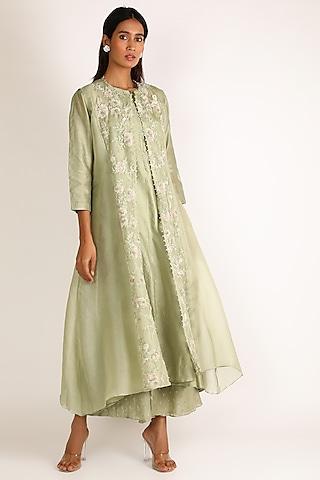 Green Embroidered Tunic Set by Vara By Vibha & Priti