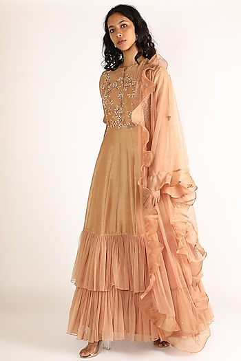 Coral Embroidered Frill Gown With Dupatta by Vara By Vibha & Priti