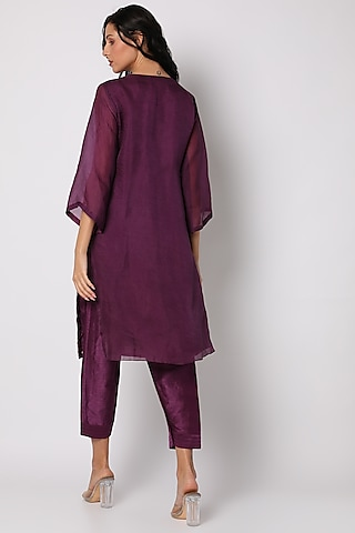 Purple Hand Embroidered Tunic Set by Vara By Vibha & Priti