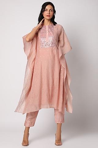 Pink Pant Set With Stone Work by Vara By Vibha & Priti