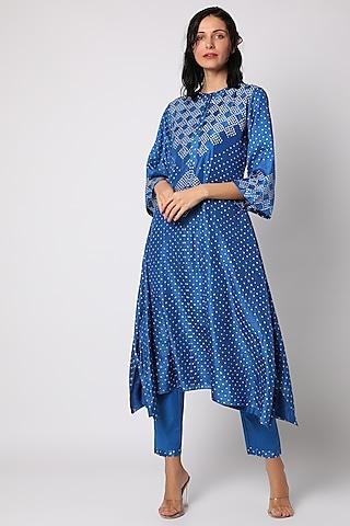 Blue Silk Tunic Set by Vara By Vibha & Priti