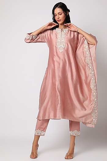 Pink Tunic Set With Moti Work by Vara By Vibha & Priti