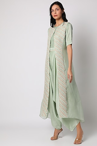 Mint Green Hand Embroidered Jacket Set by Vara By Vibha & Priti