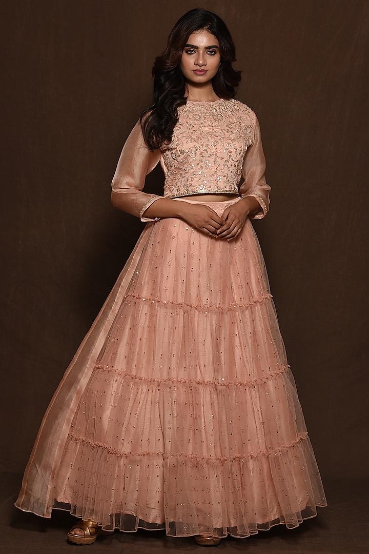 Pink Organza Layered Skirt Set by Vara By Vibha & Priti