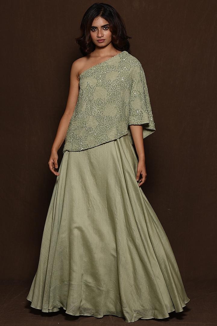 Green Georgette Maxi Skirt Set by Vara By Vibha & Priti