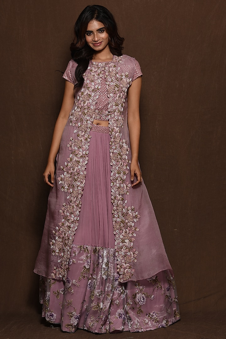 Lilac Hand Embroidered Cape Set by Vara By Vibha & Priti