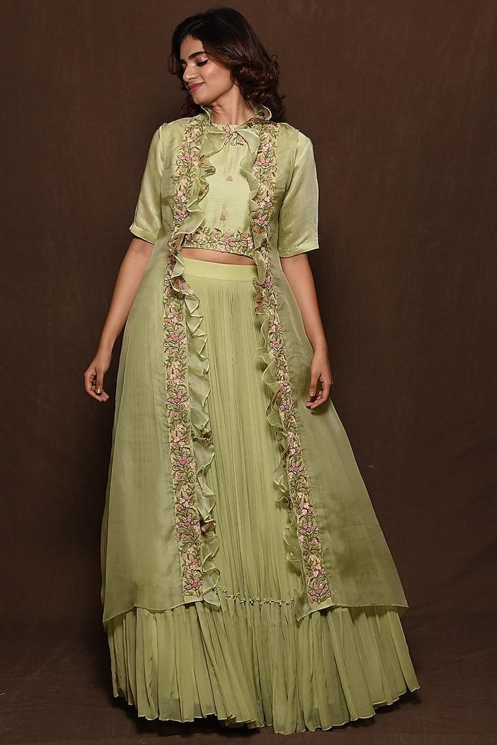 Green Hand Embroidered Jacket Set by Vara By Vibha & Priti