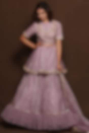 Lilac Silk Skirt Set by Vara By Vibha & Priti