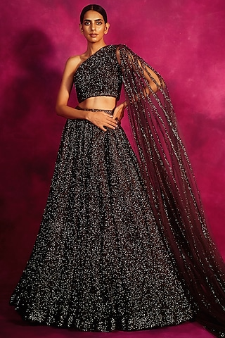 Dull Silver Embroidered Lehenga & Blouse by Vvani By Vani Vats