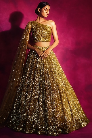 Dull Gold Embroidered Lehenga & Blouse by Vvani By Vani Vats