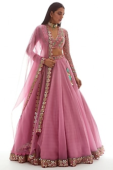 Dull Pink Embroidered Lehenga Set by Vvani by Vani Vats