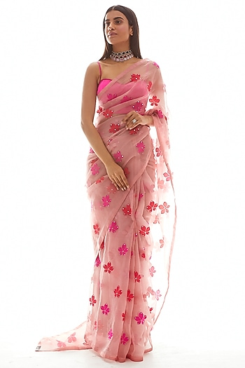 Dusty Pink Hand Embroidered Saree Set by Vvani by Vani Vats