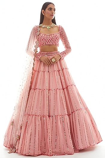 Peach Hand Embroidered Lehenga Set by Vvani by Vani Vats