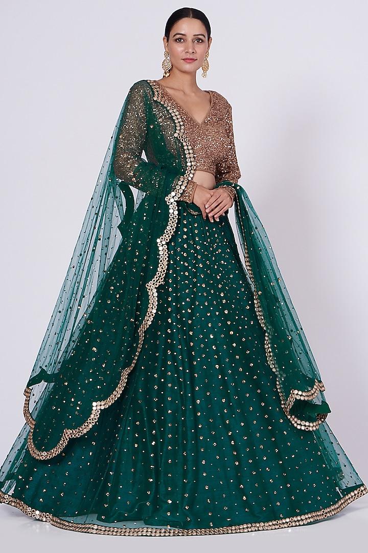 Green Hand Embroidered Lehenga Set by Vvani By Vani Vats