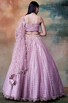 Powder Pink Net Lehenga Set by Vvani by Vani Vats